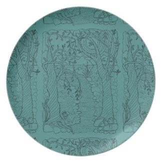 Forest Stream Line Art Design Dinner Plate