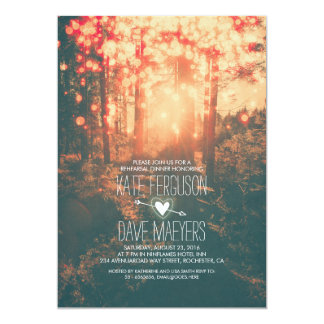 Forest String Lights Rustic Rehearsal Dinner Card