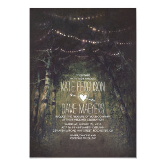 Forest String Lights Rustic Wedding Invitations