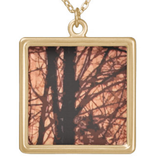 Forest Sunrise Abstract Gold Plated Necklace