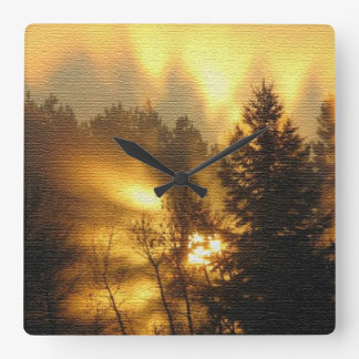 Forest Sunrise Square Wall Clock