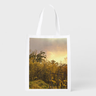 Forest Themed, A Densly Covered Forest With Severa Reusable Grocery Bags
