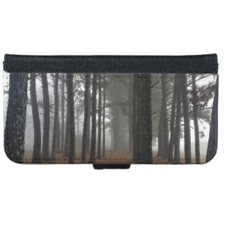 Forest Themed, A Fog Covering A Forest With Severa iPhone 6 Wallet Case