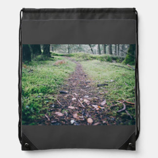 Forest Themed, Narrow Pathway With Fallen Leaves A Drawstring Bag