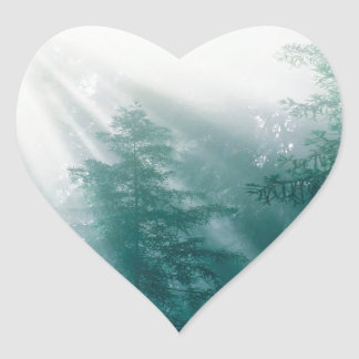 Forest Tranquility Heart Sticker