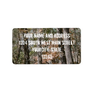 Forest Tree Camo Camouflage Nature Hunting/Fishing Address Label