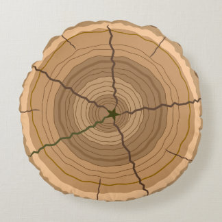 Forest tree trunk stump round pillow