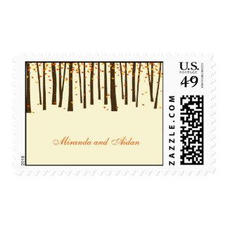 Forest Trees Custom Postage Stamp - Orange