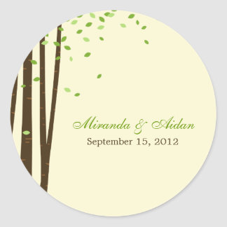 Forest Trees Favor Sticker or Envelope Seal- Green Round Sticker
