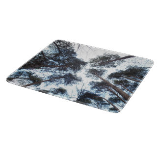 Forest trees from down, sky view, polish forest v2 cutting board
