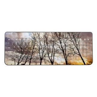 Forest Trees in Winter Wireless Keyboard