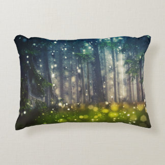 Forest, trees on clearing, dawn accent pillow