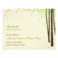 Forest Trees Save The Date Announcement - Green -