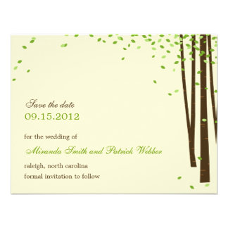 Forest Trees Save The Date Announcement - Green - Personalized Announcements