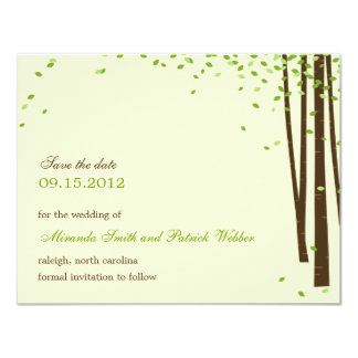 """Forest Trees Save The Date Announcement - Green - 4.25"""" X 5.5"""" Invitation Card"""