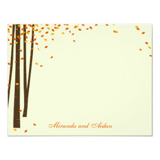 """Forest Trees Thank You Cards cards - Orange - 4.25"""" X 5.5"""" Invitation Card"""