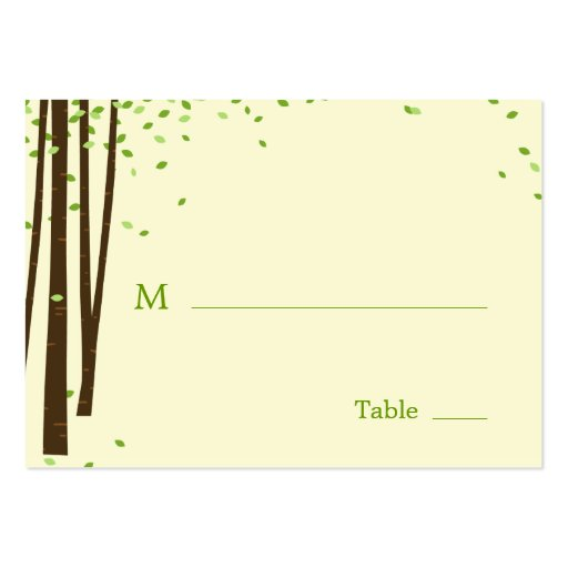 Forest Trees Wedding Flat Place Cards Business Card Template
