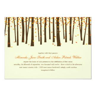 "Forest Trees Wedding Invitation - Orange - 5"" X 7"" Invitation Card"