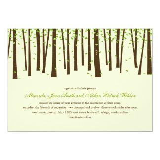 "Forest Trees Wedding Invitations - Green 5"" X 7"" Invitation Card"