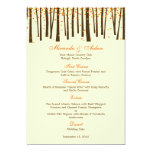 Forest Trees Wedding Menu Card - Orange - Personalized Announcements