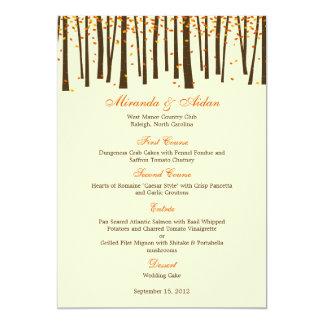 Forest Trees Wedding Menu Card - Orange -