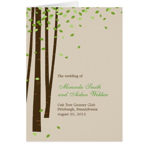 Forest Trees Wedding Program Card - Green