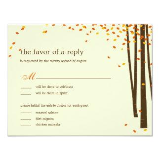 Forest Trees Wedding RSVP cards - Orange -
