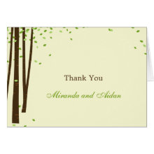 Forest Trees Wedding Thank You Card - Green