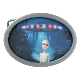 Forest UFO Close Encounter Belt Buckle