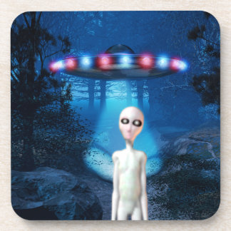 Forest UFO Close Encounter Beverage Coaster