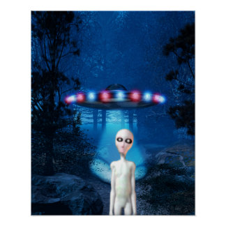 Forest UFO Close Encounter Poster