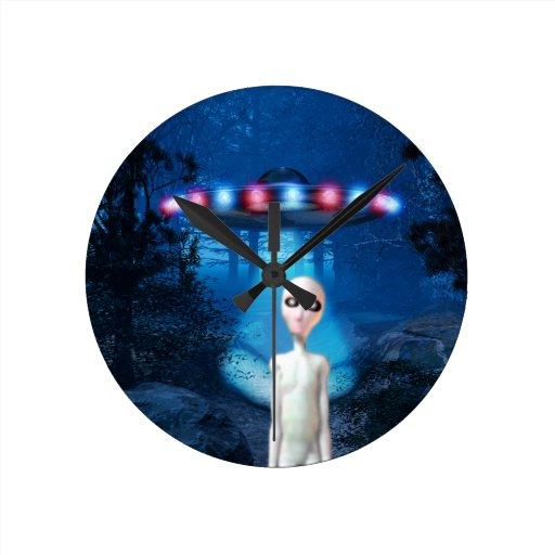 Forest UFO Close Encounter Wall Clock