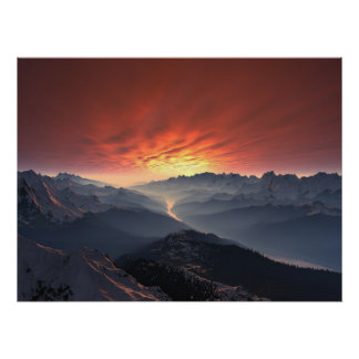 Forest Valley Sunset Poster