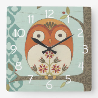 Forest Whimsy I Square Wall Clock