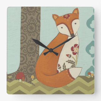 Forest Whimsy III Square Wall Clock