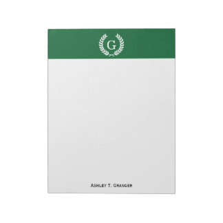 Forest White Wheat Laurel Wreath Initial Monogram Notepad