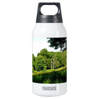 Forest with green trees and grass insulated water bottle