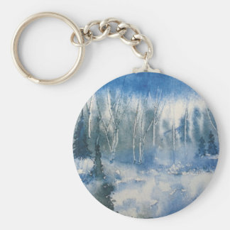 Forest with Trees in Blue and White Keychain