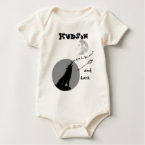 Forest Wolf Personalized LOVE You to the Moon Baby Bodysuit