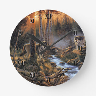 Forest Wolves Wall Clock