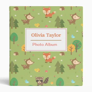 Forest Woodland Animal Pattern For Kids Binder