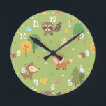 "Forest Woodland Animal Pattern Kids Room Decor Round Clock<br><div class=""desc"">Decorate the kids or nursery room with this cute woodland animal themed pattern design!. This cute, cheerful and colourful pattern is made using a variety of woodland animals which include bird, deer, fox, a hopping bunny, a squirrel with acorn nut, a raccoon and a hedgehog. Decorated with trees, white daisies,...</div>"