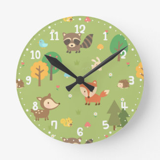 Forest Woodland Animal Pattern Kids Room Decor Round Clock