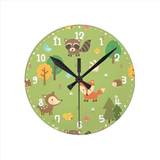 Forest Woodland Animal Pattern Kids Room Decor Round Clock