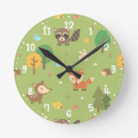Forest Woodland Animal Pattern Kids Room Decor Round Wall Clocks