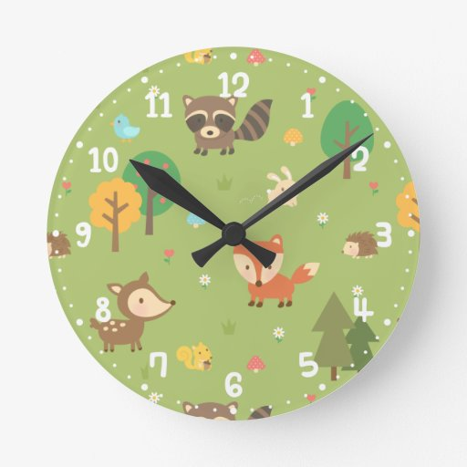 Forest woodland animal pattern kids room decor round wall for Kids room clock