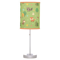 Forest Woodland Animal Pattern Kids Room Decor Table Lamp