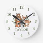 Forest Woodland Animals Bear Deer Fox Owl Numeral Round Clock