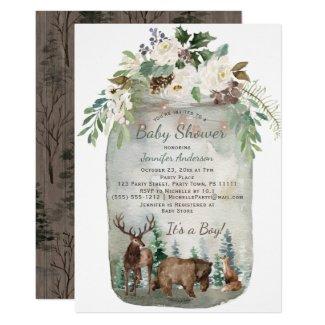 Forest Woodland Animals Mason Jar Baby Shower Invitation