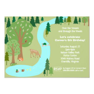 Forest Woodland Animals Nature Birthday Party 4.5x6.25 Paper Invitation Card